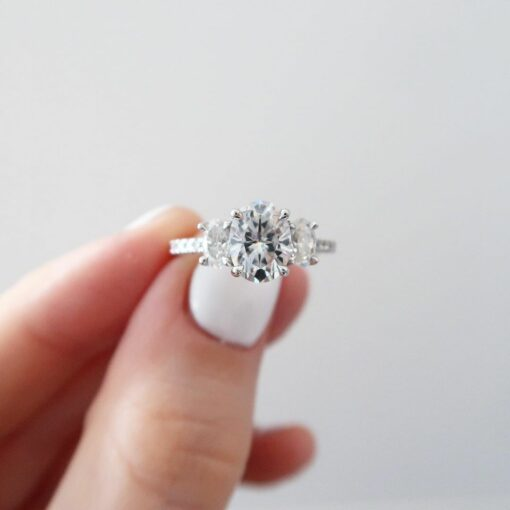 Oval moissanite three stone ring South Africa