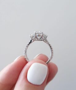 2CTW Oval Moissanite Three Stone Engagement Ring in 9ct White Gold