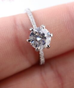 2ct Brilliant Round Moissanite in 9ct White Gold Pave Engagement Ring South Africa