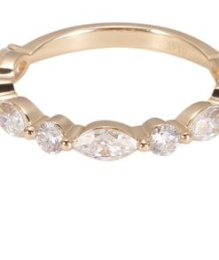 Marquise Moissanite Wedding Band in 9ct Yellow Gold