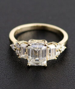 6x8mm Emerald Cut Three Stone Moissanite Engagement Ring South Africa
