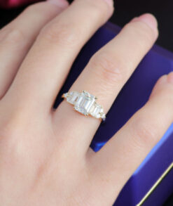 Emerald Cut Moissanite Trilogy Ring South AFrica