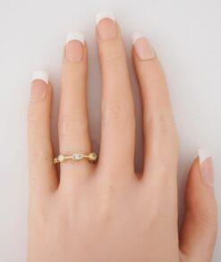 Bezel marquise Wedding Ring