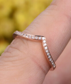 Rose Gold Curved Wedding Band With Round Moissanites South Africa