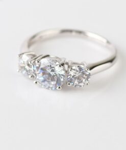 3 Stone 2ct Round Moissanite Engagement Ring in 9ct White Gold