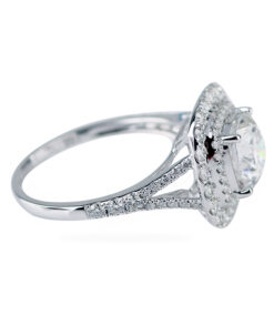 Double Halo Moissanite Engagement Ring 1ct Cushion Cut