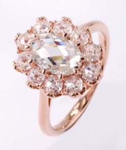 9ct Rose Gold 6x9mm Oval Rose Cut Moissanite Ring with 3mm Rose Cut Stones