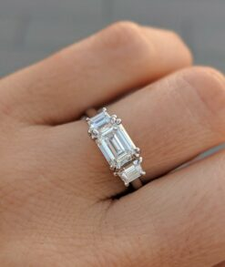 3 Stone Emerald Cut Moissanite Engagement Ring South Africa