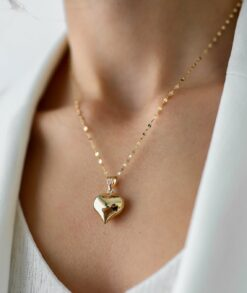 Gold Heart Pendant Necklace1