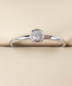 9ct White Gold 0.10ct Moissanite Bezel Set Engagagement Ring South Africa