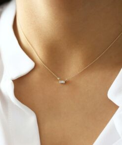 Gold Baguette Moissanite Necklace South Africa
