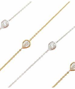 Bezel Set Pear Shaped Moissanite Bracelet South Africa