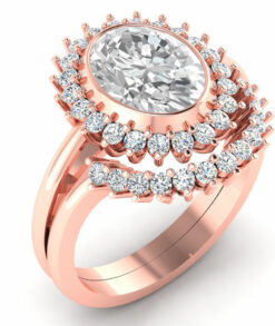 halo oval cut moissanite ring set rose gold