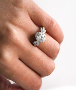 Stunning Oval Moissanite Halo Floral Ring