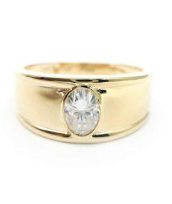 Mens Oval Moissanite Wedding Ring